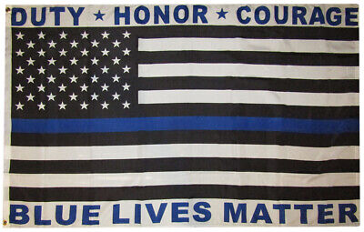 3x5 Duty Honor Courage Blue Lives Matter 3'x5' Rough Tex 100D Oxford Poly Flag