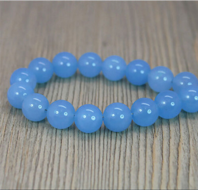 """NEW Bright Blue Chalcedony 10mm Round Beads 15"""" AAA"""