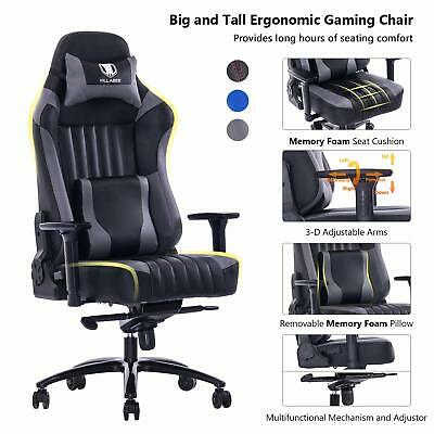 KILLABEE Big and Tall 400lb Memory Foam Gaming Chair with 3D Arms, Grey