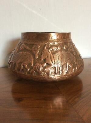 Antique 19th Century Middle Eastern Persian Copper hand etched bowl