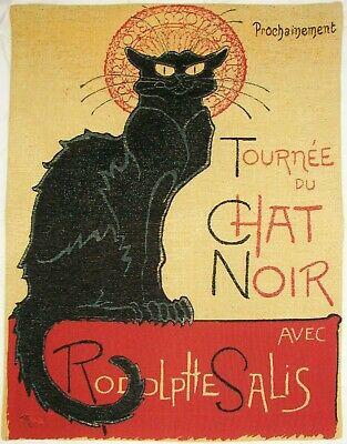 Le Chat Noir The Black Cat 60Cm X 45Cm Fully Lined Belgian Tapestry Wall Hanging