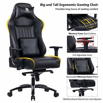 KILLABEE Big and Tall 400lb Memory Foam Gaming Chair with 3D Arms, Black