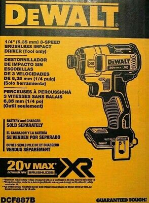 DEWALT DCF887B 20-Volt MAX XR 3-Speed 1/4 in Impact Driver Tool-Only NEW IN BOX