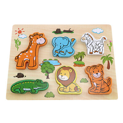 Wooden Wild Animal Zoo Jigsaw Puzzles Board Early Educational Toy 6L