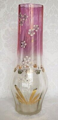 Antique Bohemian Moser Style Glass Vase Hand Painted Enameled Floral Motif