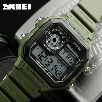 SKMEI Men's Sports Watch Waterproof Alarm Date LED Digital Silicone Wristwatch
