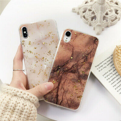 For iPhone XR XS Max 8 7 6 Plus Marble Shockproof Silicone Protective Case Cover