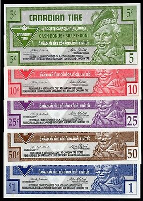 Canadian Tire 5 Different Cash Bonus Money these are in fine condition used # 8