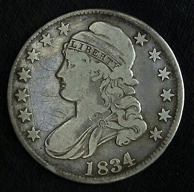 1834 Capped Bust Silver Half Dollar ☆☆ Nice Circulated Half ☆☆ Scratches