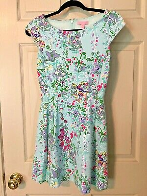 a64b5e4fb057f5 LILLY PULITZER BRIELLA Dress Aqua Bait and Switch Size XS Floral Fit ...