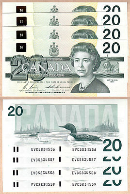 4 Sequential Serial# 1991 $20 Bank of Canada Bird Series Notes. BC-58b GEM UNC
