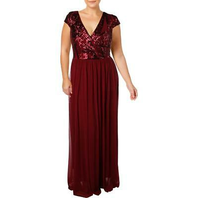 e36bfee1b585 Betsy & Adam Womens Red Sequined Formal Evening Dress Gown Plus 18W BHFO  7349