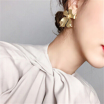 Vintage Women Big Flower Shape Drop Crystal Stud Earrings Jewelry S