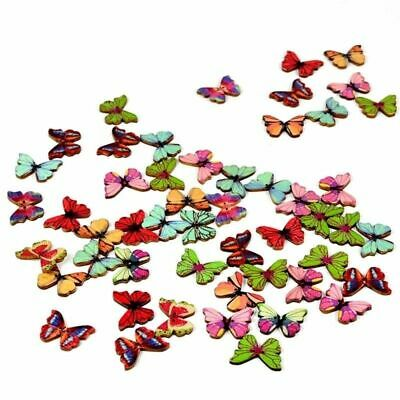 50X 2 Holes Mixed DIY Flat Back Wood Sewing Buttons Scrapbooking Craft Butterfly