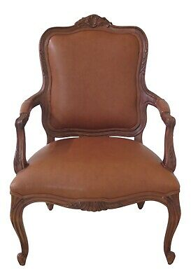 47352EC: ETHAN ALLEN French Louis XV Style Leather Arm Chair