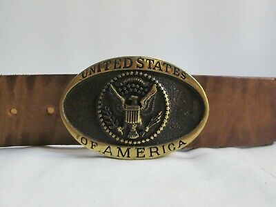 Vintage Solid Brass Heritage Mint USA Registered Collection Belt With Buckle
