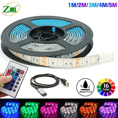 LED Strip Lights 0.5/1/2/3/4/5m 5V 5050 RGB Dimmable USB TV Back Lighting+Remote