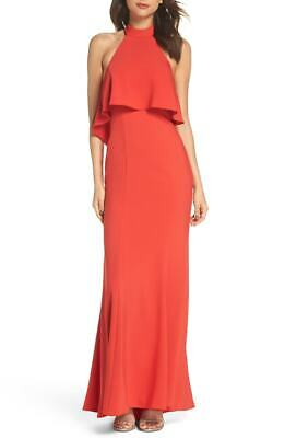 c0964e003674 New $469 Xscape Women's Red Ruffled Popover Open-Back Halter Gown Dress  Size 10