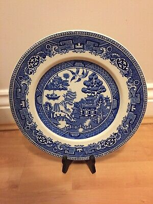 "ALFRED MEAKIN OLD WILLOW BLUE + WHITE Vintage Large 10"" DINNER PLATE ENGLAND"