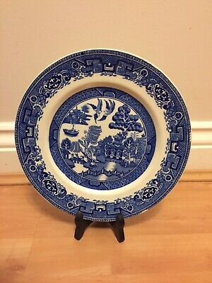 "ALFRED MEAKIN OLD WILLOW BLUE + WHITE Vintage Large 9"" DINNER PLATE ENGLAND"