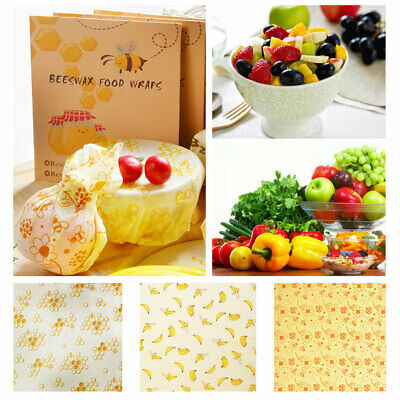 Set of 3 Bees Wax Wraps Reusable Natural Beeswax Food Wrap Eco friendly Bags