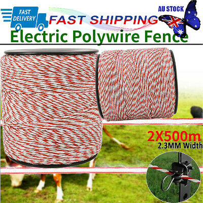 Polywire 2000M Roll Electric Fence Wire Energiser Stainless Poly Wire Insulator