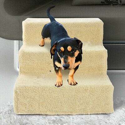 Portable Pet Dog Steps Stair Stairs Ramp Ladder Doggy Cat Soft Washable Cover