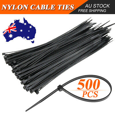 500/1000 Bulk Cable Ties Zip Ties Black (3.6mm x 200mm) Nylon UV Stabilised AU