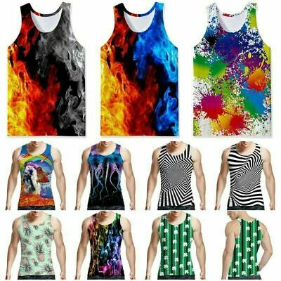 Fire 3D Printed Mens Womens Sleeveless Tank Top Casual Workout Gym Tees T-shirt