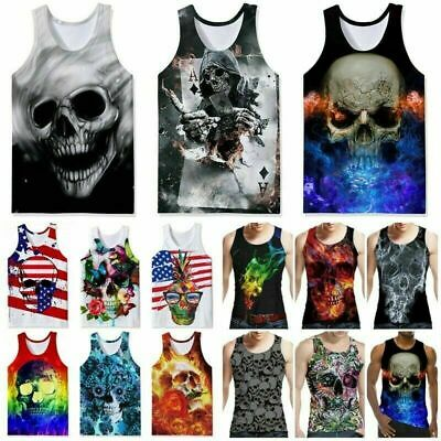 Skull 3D Printed Mens Sleeveless Pattern Tank Top Casual Workout Graphics Tees