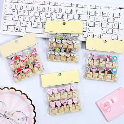 1bag Kawaii Wooden Paper Clip Pin Bookmark For Album With Rope Stickers Decor