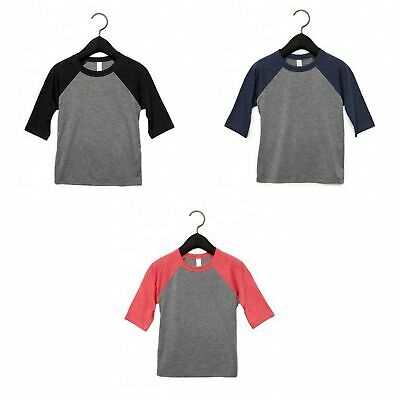Bella+Canvas Youth Unisex Jersey Baseball Tee-9 COLORS-C3200Y 3200Y Sizes S-L