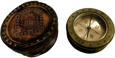 Antique Brass Nautical Mary Rose Marine Compass W Sliding Magnifying Glas SC 087
