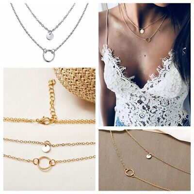 Simple Double Layers Chain Circle Pendant Necklace Choker Women Jewelry