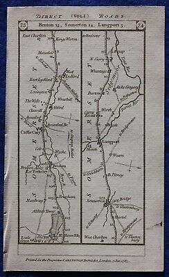 Original antique road map SOMERSET, DEVON, BRUTON, TAUNTON, Paterson, 1785