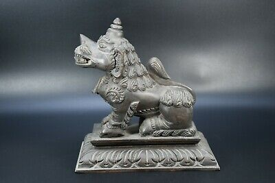 Wooden Hand Crafted Dragon Lion Statue Vintage Brass Fitted Swan Figure Nepal
