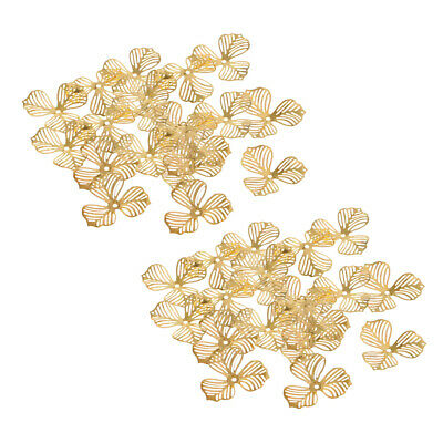 40x Antique Gold Metal Filigree Flower Slice Charms Jewelry DIY Components