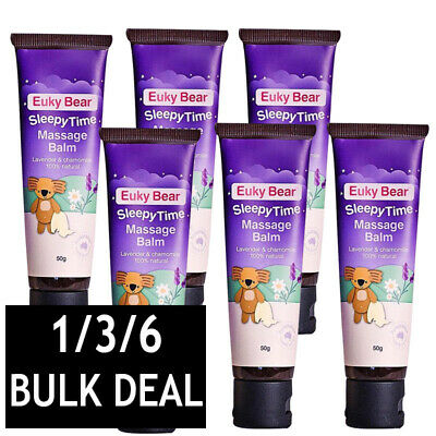 1/3/6 x EUKY BEAR SLEEPY TIME MASSAGE BALM LAVENDER CHAMOMILE 100% NATURAL 50g