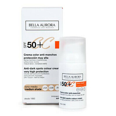 Bella Aurora,Crema Color CC Anti-Manchas, SPF 50+, Tono Medio. 30 ml
