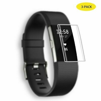 3pc Real TPU Full Coverage Clear Screen Protector Film For Fitbit Charge 3 Watch