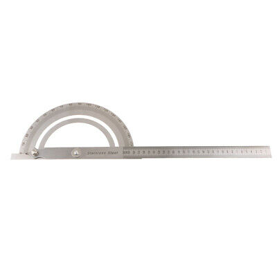 Stainless Steel Rotary Protractor Angle Rule Machinist Tool Arm Ruler 300mm