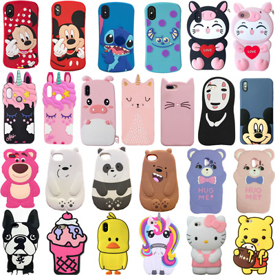 2019 New 3D Cute Kawaii Cartoon Gift Animals Soft Silicone Case Cover For iPhone