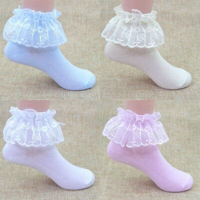 Baby Girls Tutu Socks Bow Lace Newborn Infant Frilly Sock Cotton Short Socks US