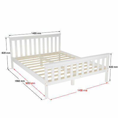Panana Modern Double bed 4ft6 Pine Wooden Frame in White Bedroom Furniture New