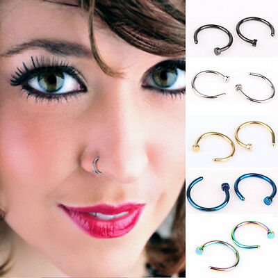 Fake Clip On Surgical Steel Open Nose Ring Thin Small Hoop