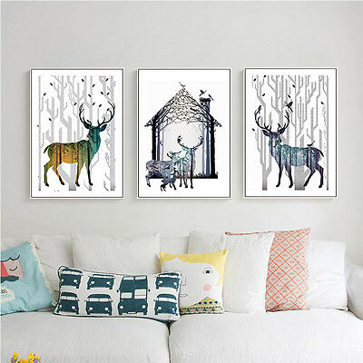 Deer Silhouette Abstract Canvas Poster Prints Nordic Minimalist Art Wall Decor