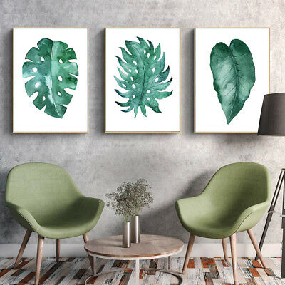 Watercolor Leaves Plants Canvas Poster Prints Nordic Minimalist Art Wall Decor