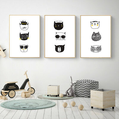 Abstract Cartoon Animal Head Canvas Poster Minimalist Art Prints Kids Wall Decor