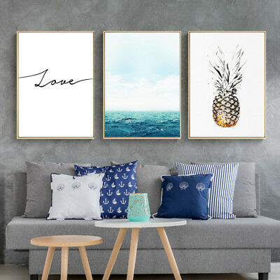 Pineapple Canvas Poster Sea Landscape Quote Art Prints Wall Decor