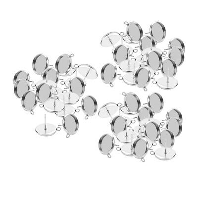 MagiDeal 48pcs Brass Metal Round Stud Earring Cabochon Setting Post Cup Fit for 12mm